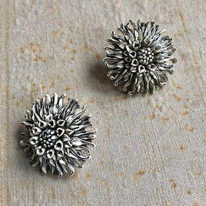 Beautiful Vintage Hand-carved Flower Earrings